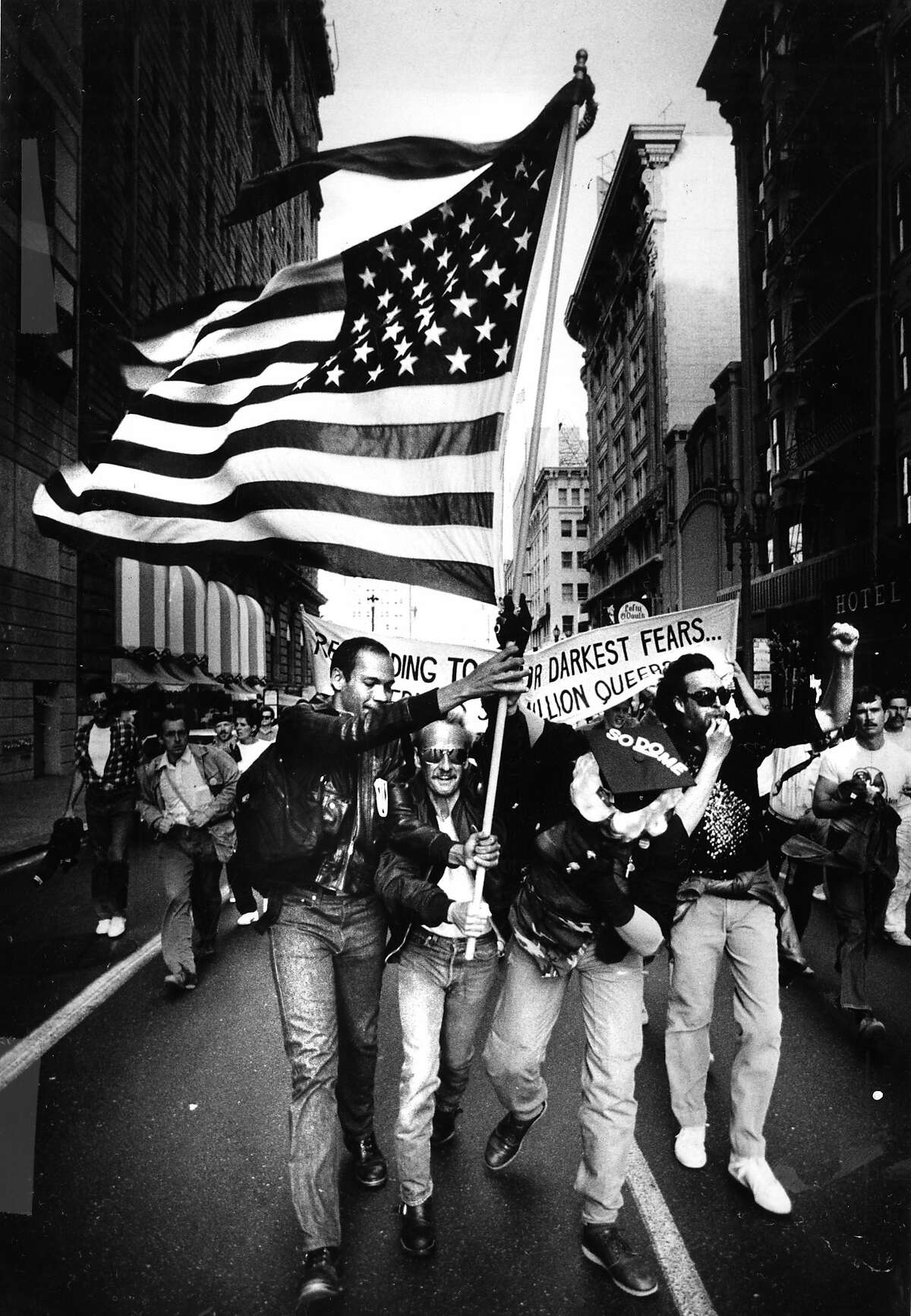 July 17, 1986: Member of San Francisco's gay community protest the Supreme Court's decision to uphold an anti-sodomy law in Georgia.