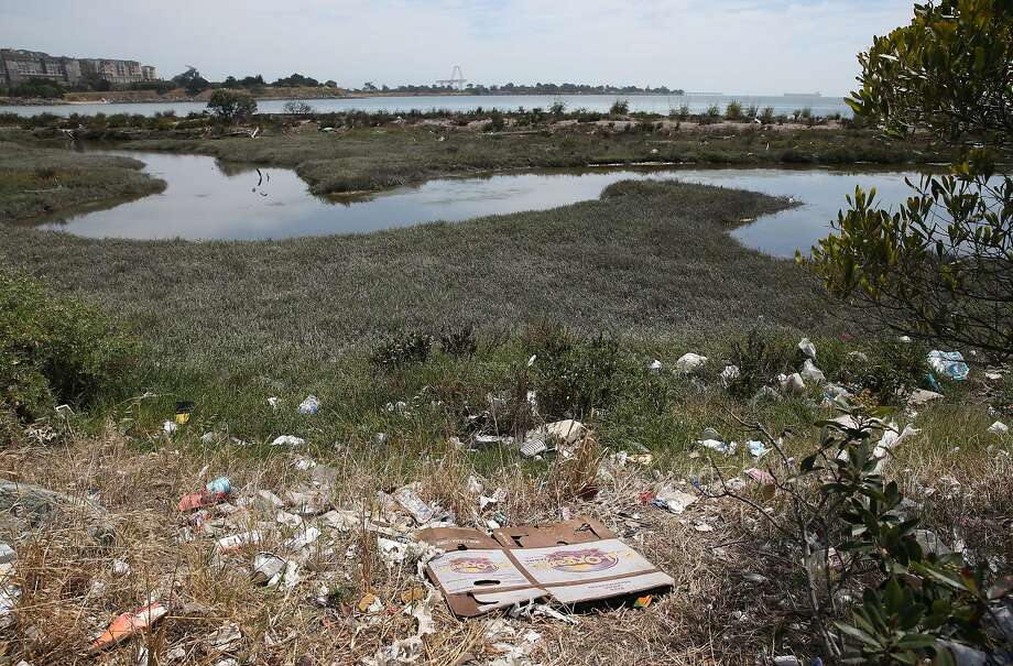 Trash is strewn across the shore of Sunnydale Cove in San Francisco, Calif. on Wednesday, June 17, 2015. The environmental group Heal the Bay released its annual Beach Report Card which ranks beaches statewide with the highest water quality and also lists beaches with the most polluted water quality, including Sunnydale Cove near Candlestick Point. Photo: Paul Chinn, The Chronicle