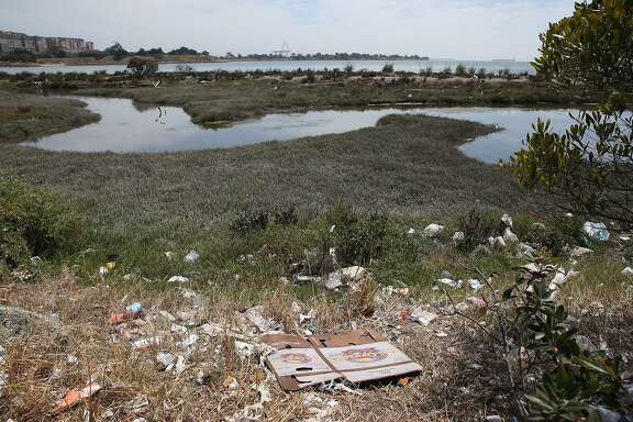 Trash is strewn across the shore of Sunnydale Cove in San Francisco, Calif. on Wednesday, June 17, 2015. The environmental group Heal the Bay released its annual Beach Report Card which ranks beaches statewide with the highest water quality and also lists beaches with the most polluted water quality, including Sunnydale Cove near Candlestick Point.