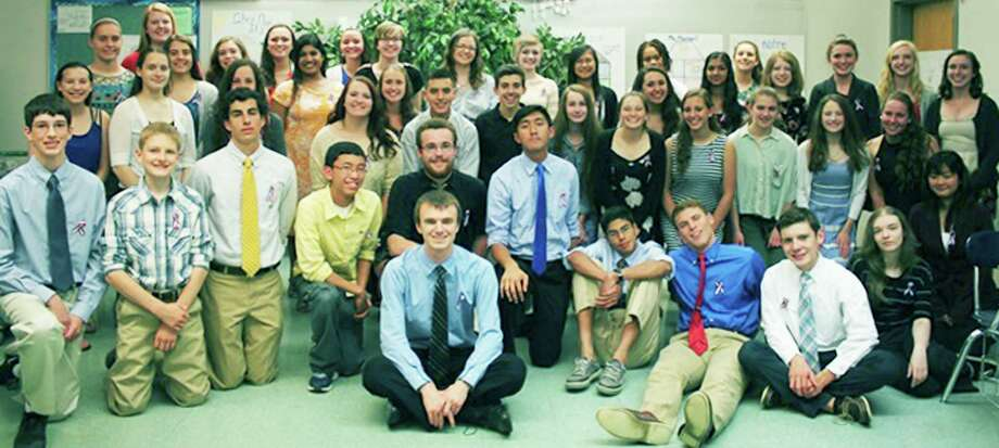 The New Milford High School chapter of the French Honor Society recently held its annual induction ceremony.Members pictured above are, from left to right, in front, Tyler Helmus, Dan Andrejczyk, Lawrence Andre, Viseth Neak, Zachary Pitcher (seated), Zachary Polley, (standing behind Zachary Pitcher), Kevin Bun, Herlandt Lino, Nathaniel Diamond, Kurt Jonke, Shayna Caprio and Anna Qiu; second row, Samantha McGuire, Jennifer Kast, Marissa Fugardi, Paige Sorenson, Sarah Coshal, Cesar Gavilano, Tyler Volansky, Alyssa Forster, Katherine Grinnell, Olivia Thalassinos, Kelvy Zucca, Emma Hallacker and Avery Kelly; and in back, Raquel Morehouse, Abigail Gillin, Mackenzie Morehouse, Stephanie Johnson, Allegra Peery, Kezia Varughese, Bettina Harcken, Katherine Polley, Kimberly Palmer, Charlotte Rothen, Francine Luo, Tyra Lindsay, Divanie Yamraj, Kailyn Schuster, Cassandra Bielmeier, Meave Ginnane, Taylor Kersten and Elizabeth Schlyer. June 2015 Photo: Contributed Photo / Contributed Photo / The News-Times Contributed