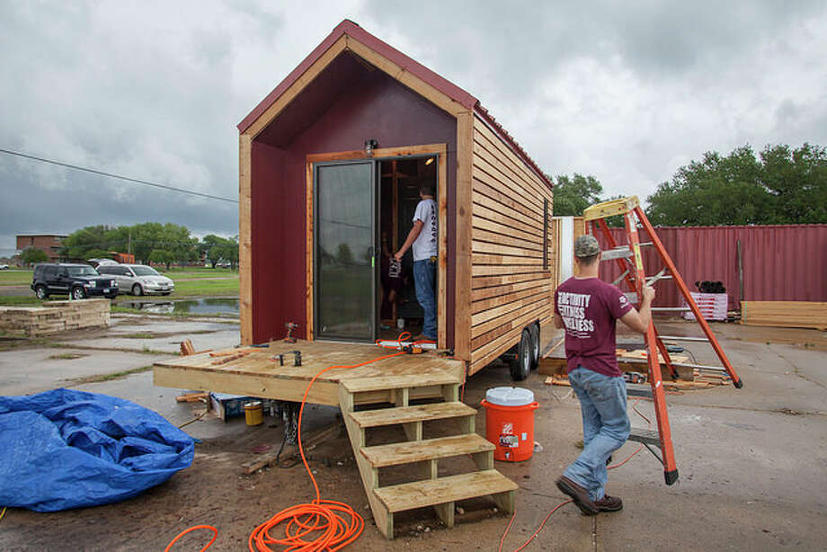 Students at Texas A&M University built tiny homes for the homeless as part of their curriculum. Photo: Courtesy Photo/Texas A&M University