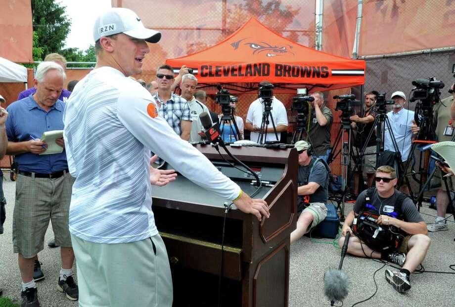Cleveland Browns quarterback Johnny Manziel addresses the media after NFL football minicamp in Berea, Ohio, Wednesday, June 17, 2015. (AP Photo/David Richard) Photo: David Richard, FRE / Associated Press / FR25496 AP