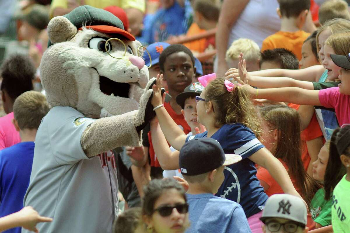 ValleyCat's mascot Pappy, left, high fives elementary school students during an exhibition game against the Dutchmen on Wednesday, June 17, 2015, at Joe Bruno Stadium in Troy, N.Y. (Cindy Schultz / Times Union)