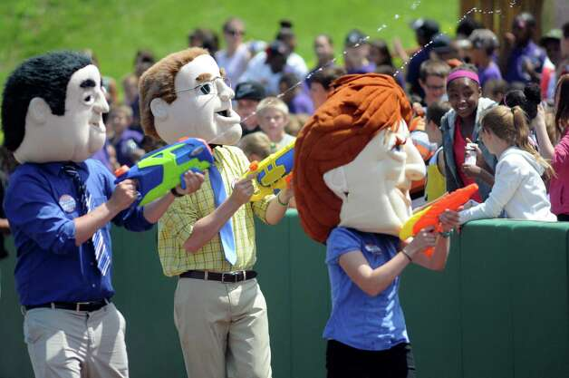 ValleyCats' mayoral mascots run a race manned with squirt guns aimed at the crowd during an exhibition game against the Dutchmen on Wednesday, June 17, 2015, at Joe Bruno Stadium in Troy, N.Y. (Cindy Schultz / Times Union) Photo: Cindy Schultz / 00032314A