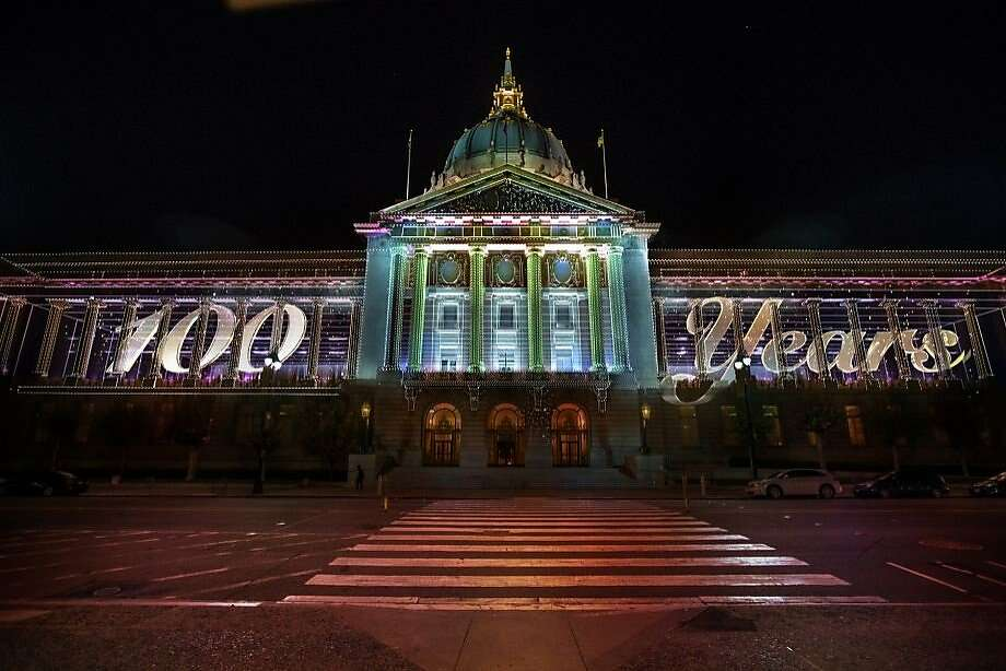 A rendering of the light installation that was planned by Obscura Digital as part of the Centennial Celebration of San Francisco City Hall on Friday, June 19. Mayor Ed Lee is considering using the same technology for regular displays on the building's east side.  Photo: Obscura Digital