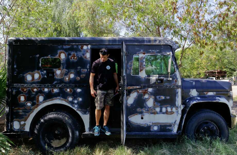 Jeff Funicello is selling his armored vehicle, which he has used as a kind of traveling billboard for his mixed martial arts gym in Mesa, Ariz. Photo: Nick Cote /New York Times / NYTNS
