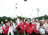 Masuk High School  graduates celebrate during commencement exercises in Monroe, Conn. on Wednesday, June 17, 2015.