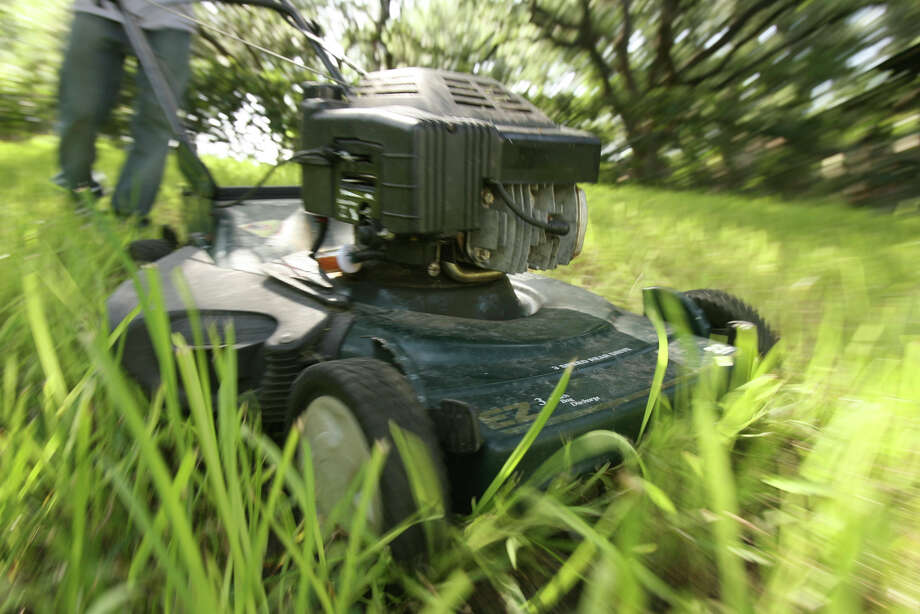 Mowing grass at the height recommended for the particular variety will help to keep it healthy. Cut no more than one-third of the blade height. Photo: Express-News File Photo / San Antonio Express-News