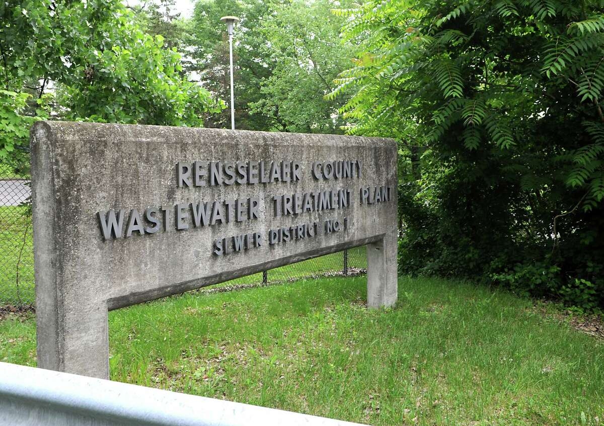 Sign at the entrance to for the Rensselaer County Wastewater Treatment plant on Wednesday, June 17, 2015 in Troy N.Y. The Hudson River is just beyond the trees. (Lori Van Buren / Times Union)