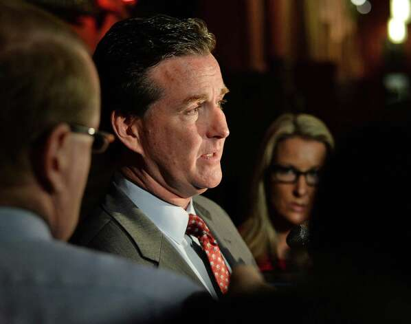 Senate majority leader John Flanagan emerges from a meeting with Gov. Cuomo Wednesday June 17, 2015 at the Capitol in Albany, NY. (John Carl D'Annibale / Times Union) Photo: John Carl D'Annibale / 00032313A