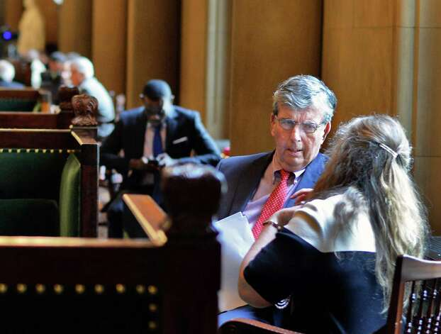 Senator Neil Breslin, second from right, outside the Senate Chamber Wednesday June 17, 2015 at the Capitol in Albany, NY. (John Carl D'Annibale / Times Union) Photo: John Carl D'Annibale / 00032313A