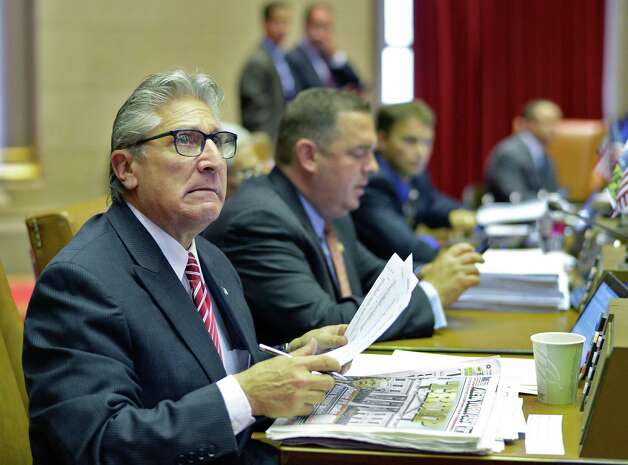 Assemblyman James Tedisco glances up at a vote tally in the Assembly Chamber Wednesday June 17, 2015 at the Capitol in Albany, NY. (John Carl D'Annibale / Times Union) Photo: John Carl D'Annibale / 00032313A