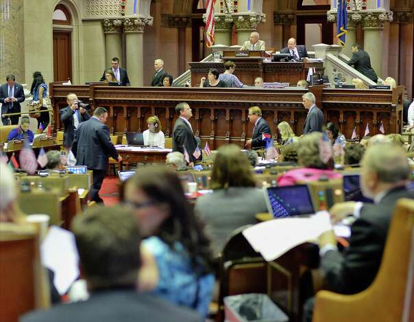 Assemblyman Jeff Aubry, top, presides over the Assembly Wednesday June 17, 2015 at the Capitol in Albany, NY. (John Carl D'Annibale / Times Union) Photo: John Carl D'Annibale / 00032313A
