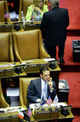 Assemblyman Angelo Santabarbara in the Assembly Chamber Wednesday June 17, 2015 at the Capitol in Albany, NY. (John Carl D'Annibale / Times Union) Photo: John Carl D'Annibale / 00032313A