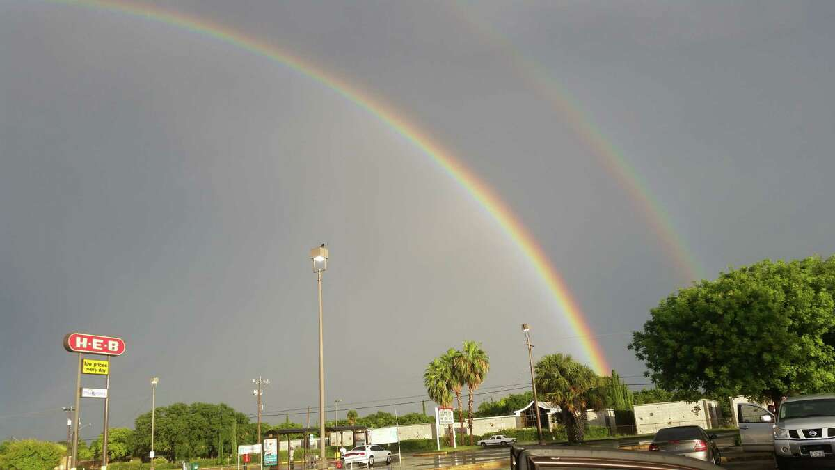 A double rainbow was seen over San Antonio after the rain Wednesday, June 17, 2015.