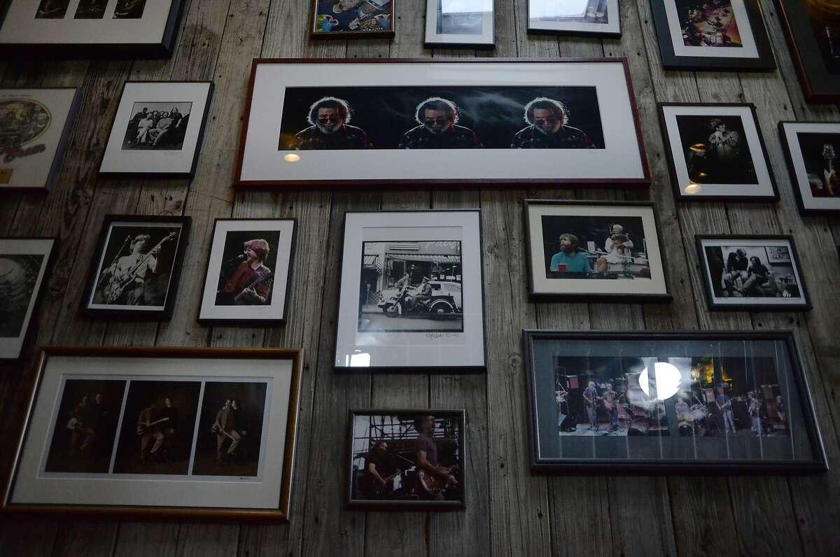 A wall covered in Grateful Dead memorabilia at Terrapin Crossroads in San Rafael, California, on Friday, June 12, 2015.
