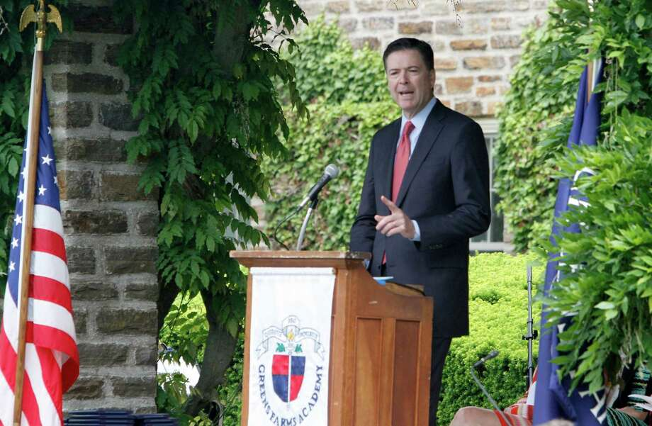 FBI Director James Comey, a Westport resident, speaks to commencement exercises for the Class of 2015 at Greens Farms Academy last week. Photo: File Photo / Connecticut Post Freelance