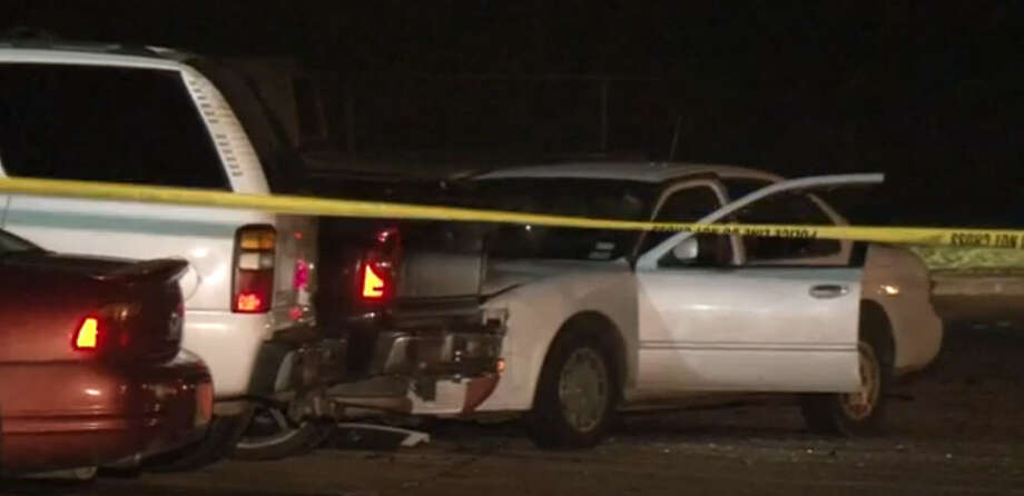 A man was found suffering from a gunshot wound early Thursday morning after he crashed his car in an apartment complex parking lot in southwest Houston. Photo: Metro Video