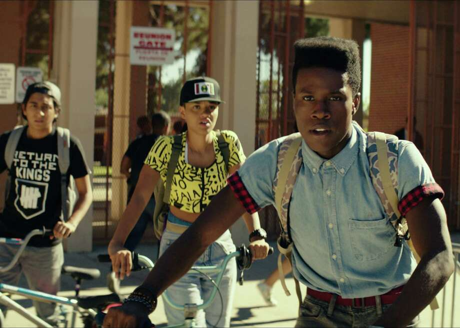 """Tony Revolori as Jib, Kiersey Clemons as Diggy and Shameik Moore as Malcolm in the indie comedy """"Dope."""" The three friends are into '90s hip hop, computers and punk rock and, as writer-director Rick Famuyiwa puts it, """"other stuff that isn't exactly happening in Inglewood"""" when they get drawn into a drug-dealing plot. Movie opens June 19. Photo: Open Road / ONLINE_YES"""