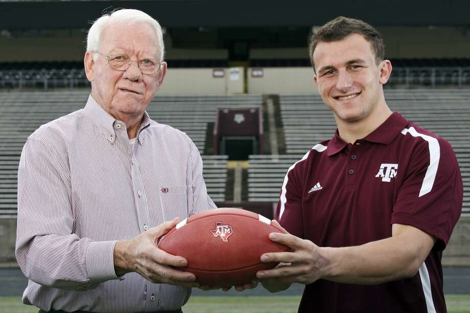 Portrait of 1957 Heisman Trophy winner Texas A&M running back John David Crow (left) and current Texas A&M freshman quarterback Johnny Manziel, who is a Heisman finalist, Tuesday Dec. 4, 2012 at Kyle Field in College Station, Tx. Photo: San Antonio Express-News