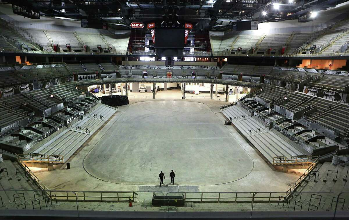 The stripped AT&T Center, seen on Thursday June 18, 2015, is being made ready for a remodel.