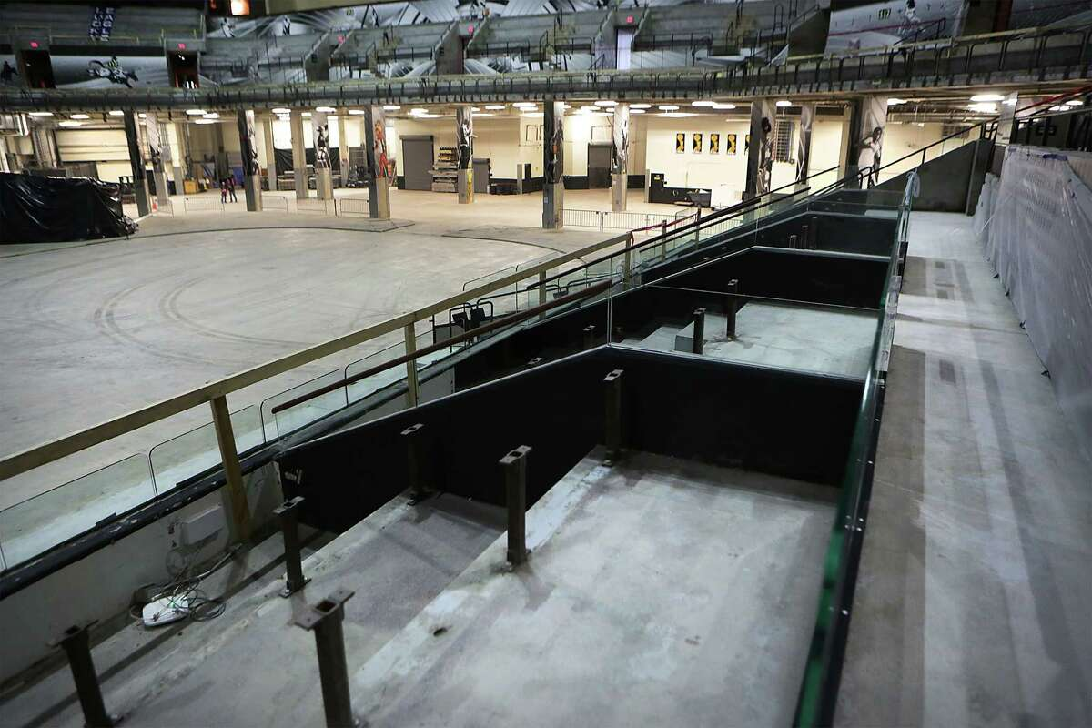 Box seat areas have been stripped with the rest of the AT&T Center on Thursday, June 18, 2015, where a complete remodel is underway.