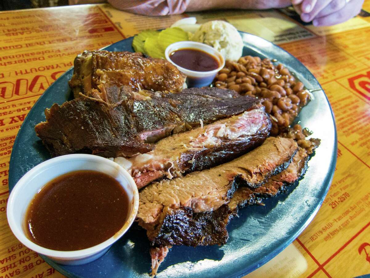 The three-meat plate at the New Zion Missionary Baptist Church Barbecue in Huntsville.