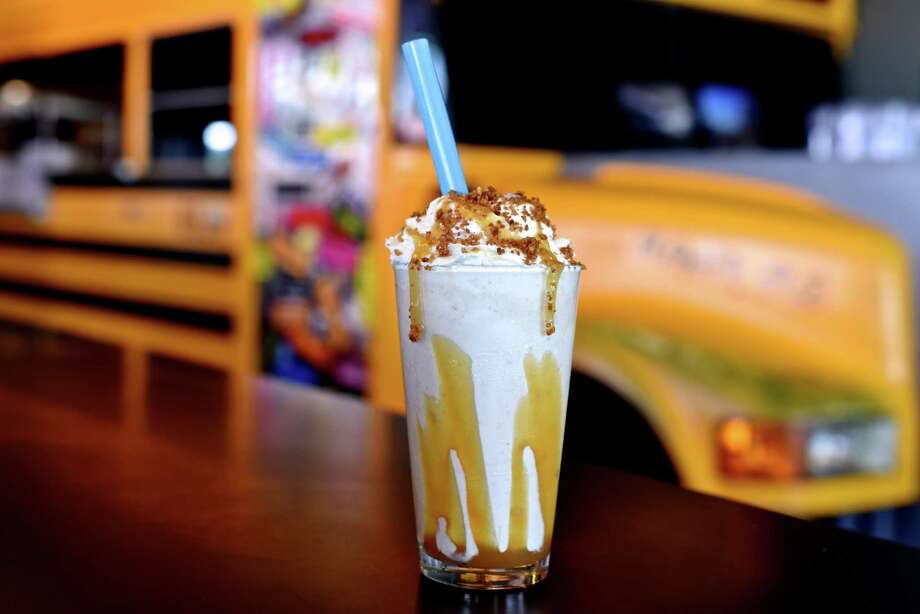 The Salted Caramel Apple Pie milkshake as served at Bernie's Burger Bus in Bellaire. Photo: Courtesy Photo