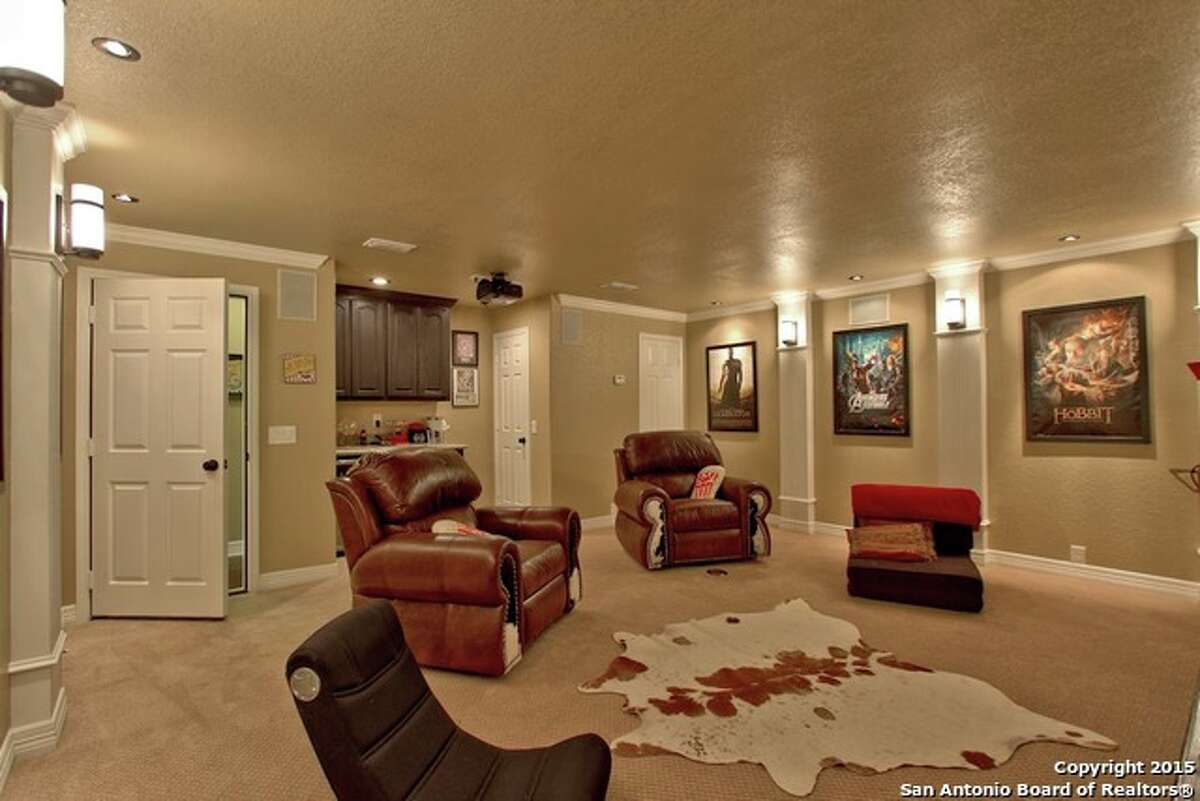 11. 8202 Setting Moon, San Antonio, Texas 78255  Price: $284,900  Bedrooms: 3  Bathrooms: 2  This home near Sonoma Ranch has a custom-built media room that could easily serve as the perfect man cave. The room has a bar, theater-type lighting, a large screen and enough space for a few sofas. A quaint office is also nearby for a little down time. MLS: 1116423