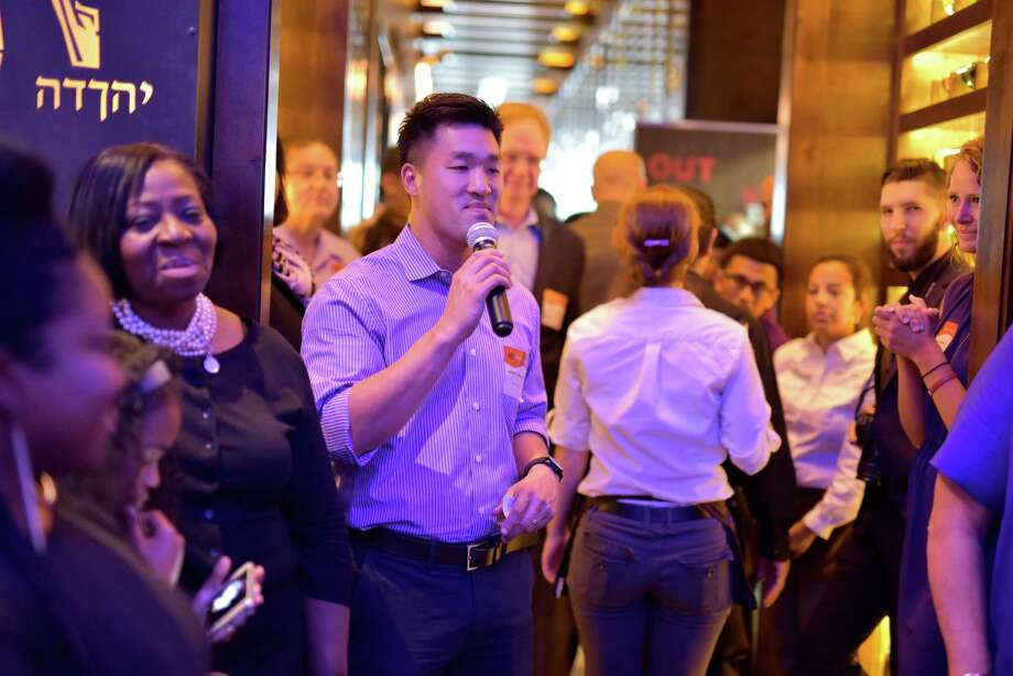 """Thomas Nguyen, co-owner of Peli Peli restaurants, photographed at the """"Starry Night"""" event in which the restaurant closed for one night in order to serve dinner to the homeless from Star of Hope Mission in Houston. Photo: Kimberly Park / ONLINE_YES"""