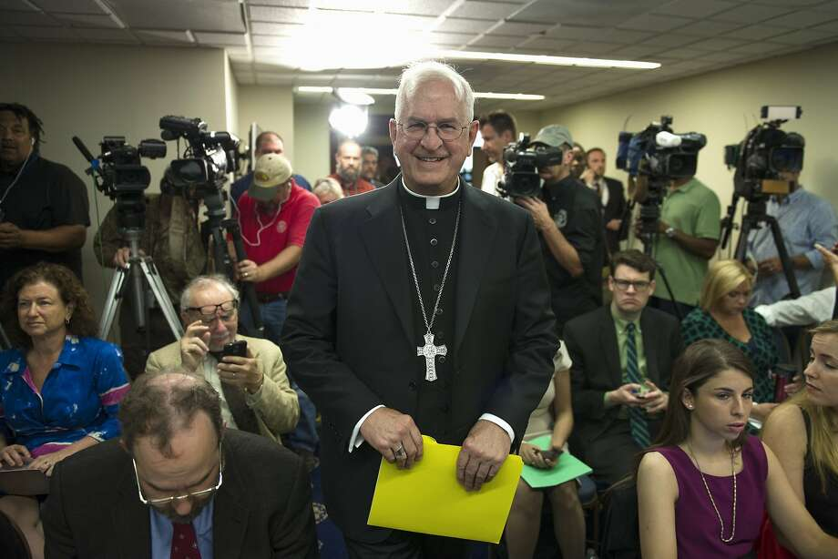 Archbishop  Joseph Kurtz, president of U.S. Conference of Catholic Bishops, arrives in Washington to discuss Pope Francis' encyclical on the environment. Photo: Cliff Owen, Associated Press
