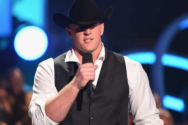 NASHVILLE, TN - JUNE 10:  J. J. Watt speaks onstage during the 2015 CMT Music awards at the Bridgestone Arena on June 10, 2015 in Nashville, Tennessee.  (Photo by Jason Merritt/Getty Images for CMT)