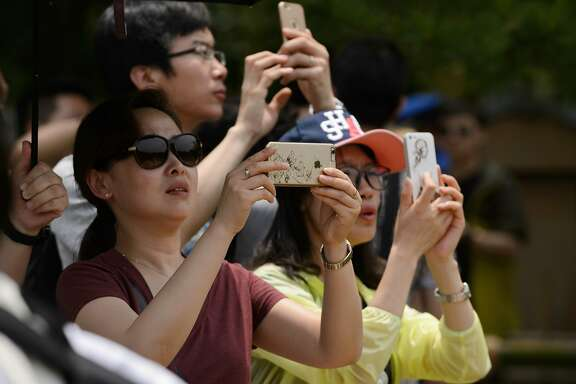 Tourists take photographs with smartphones in Kyoto, Japan, on Thursday, May 28, 2015. Spending by visitors to Japan jumped to the highest level in at least 20 years, adding about 0.1 percentage points to the country's gross domestic product, Cabinet Office data showed last month. Photographer: Akio Kon/Bloomberg