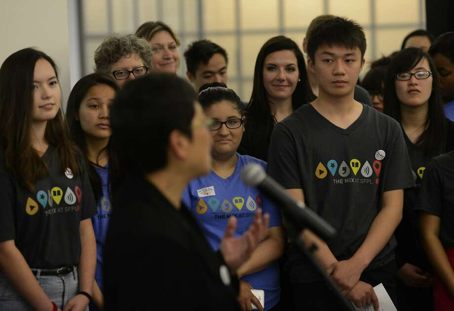 Teen volunteers gaze on while Teresa Ono speaks at the opening of The Mix at the San Francisco Public Library in San Francisco, California, on Thursday, June 18, 2015. Photo: Brandon Chew, The Chronicle