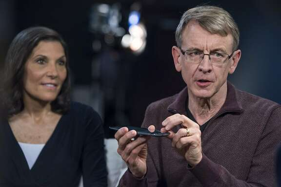 John Doerr, a senior partner with Kleiner Perkins Caufield & Byers, right, speaks as Beth Seidenberg, a partner with Kleiner Perkins Caufield & Byers, listens during a Studio 1.0 television interview in San Francisco, California, U.S., on Friday, June 12, 2015. Kleiner Perkins Cuffed & Byers operates a venture capital firm offering private equities and investments in green technology innovation, biotechnology, digital enterprises, media, telecommunication and life sciences. Photographer: David Paul Morris/Bloomberg *** Local Caption *** John Doerr; Beth Seidenberg