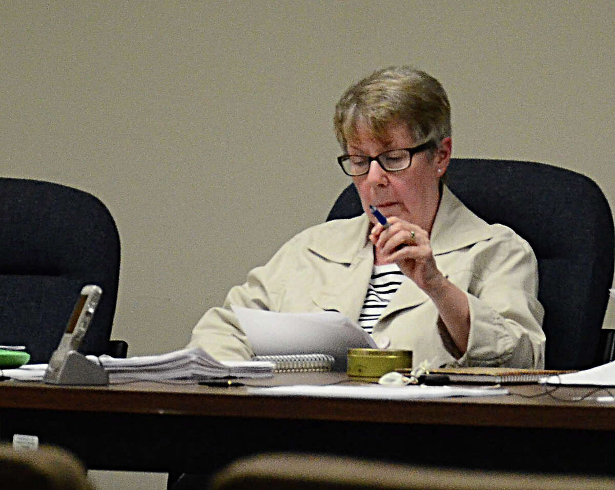 Planning and Zoning Commission Chairman Pat Rist at meeting Tuesday, May 12, 2015, at Clifford J. Hurgin Municipal Center in Bethel, Conn.
