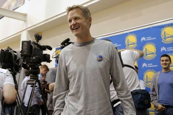 Golden State Warriors' head coach Steve Kerr finishes speaking  to the media during the final press conference of the season at their practice facility  in Oakland, Calif.  on Thurs. June 18, 2015.