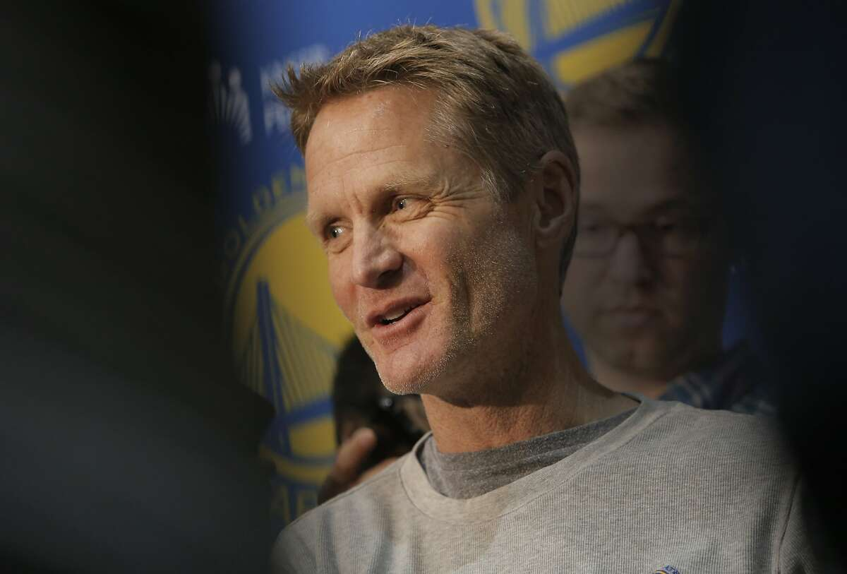 Golden State Warriors' head coach Steve Kerr speaks to the media during the final press conference of the season at their practice facility in Oakland, Calif. on Thurs. June 18, 2015.