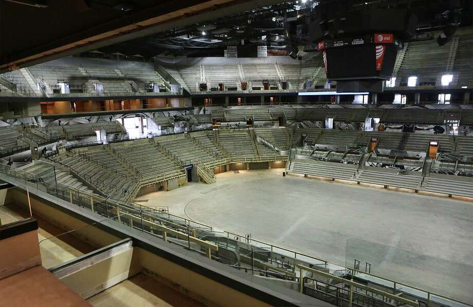 The floor of the AT&T Center is seen on Thursday June 18, 2015, from the luxury box area.  The Spurs home is going through a complete remodel. Photo: Bob Owen, Staff / San Antonio Express-News / San Antonio Express-News