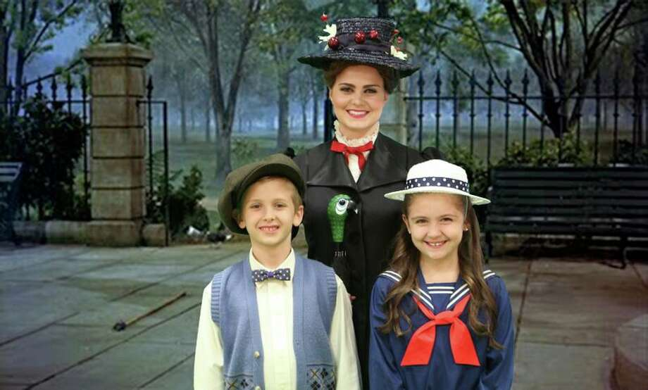"Jack Dullnig (from left), Mia Migliaccio and Madison Calderon star in the Woodlawn Theatre's staging of ""Mary Poppins."" Photo: Courtesy Woodlawn Theatre / Courtesy Woodlawn Theatre"