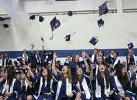 Staples High School  graduates celebrate duringcommencement exercises in Westport, Conn. on Thursday, June 18, 2015.