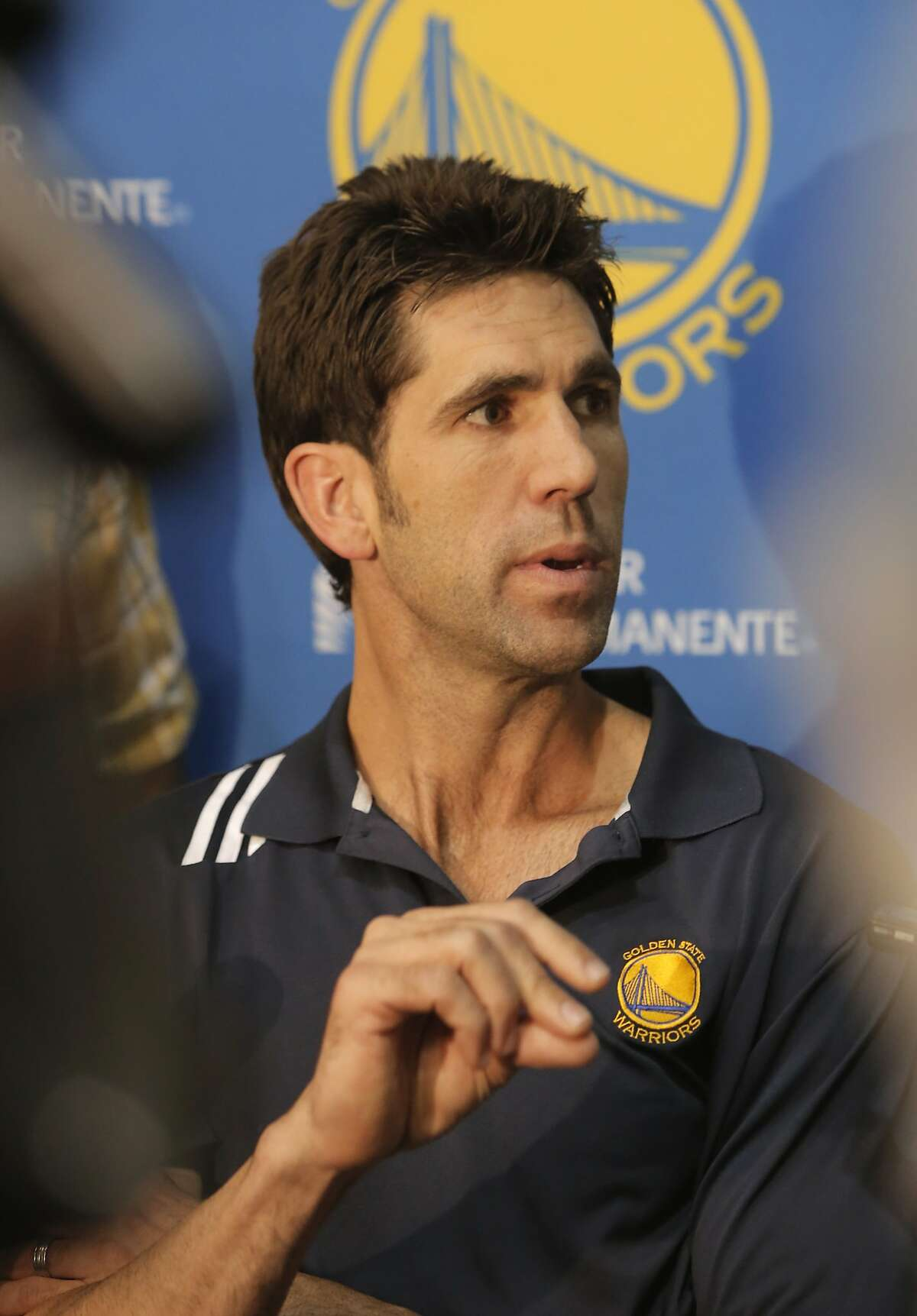 Golden State Warriors' general manager Bob Myers speaks to the media during the final press conference of the season at their practice facility in Oakland, Calif. on Thurs. June 18, 2015.