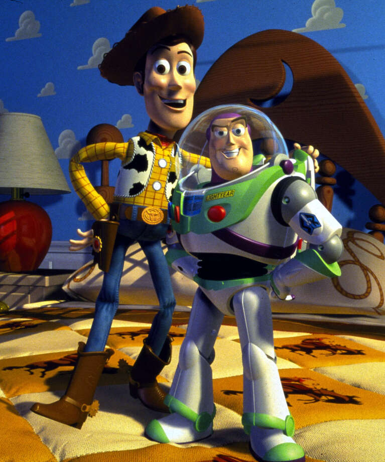 Woody (left) and Buzz Lightyear are among the  computer-animated ''stars'' of the 1995 Disney movie ''Toy Story'' Saturday on ABC.