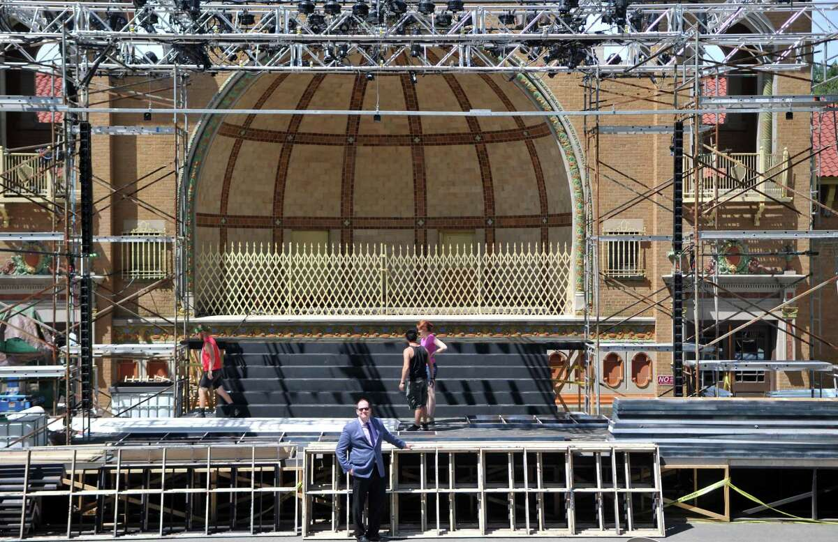 Producing Artistic Director of Park Playhouse, Owen Smith, stands before the stage Wednesday, June 17, 2015, at Washington Park in Albany, N.Y. Park Playhouse's first play this summer,