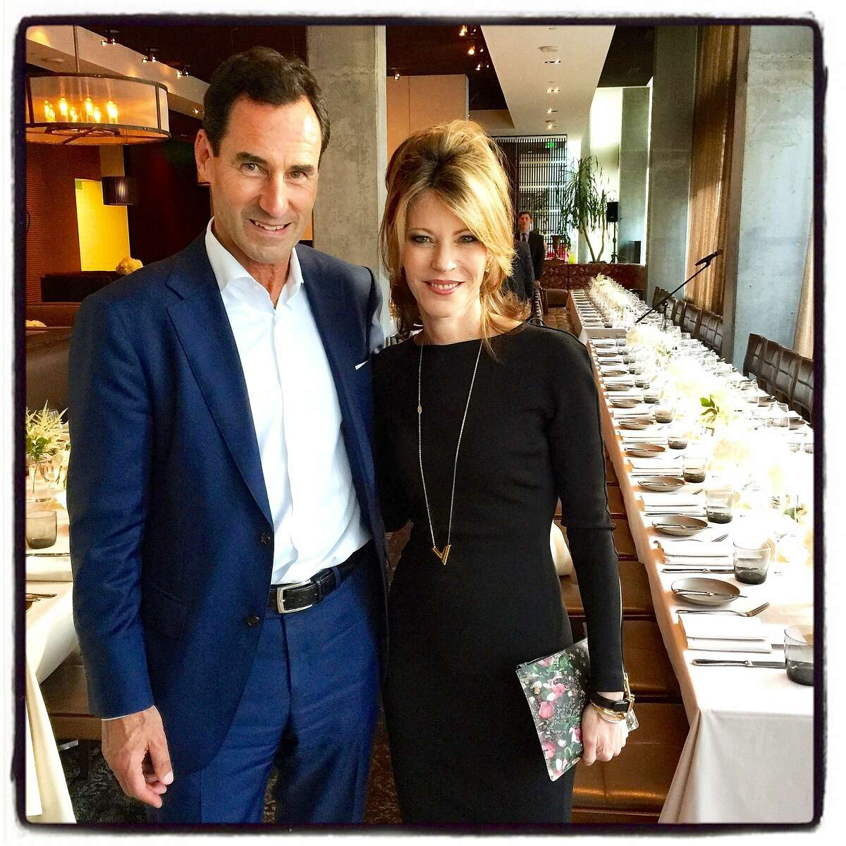 Elle Publisher Kevin O'Malley and Elle Editor-in-Chief Robbie Myers at the Elle Women in Tech dinner at Prospect Restaurant. June 2015. By Catherine Bigelow.