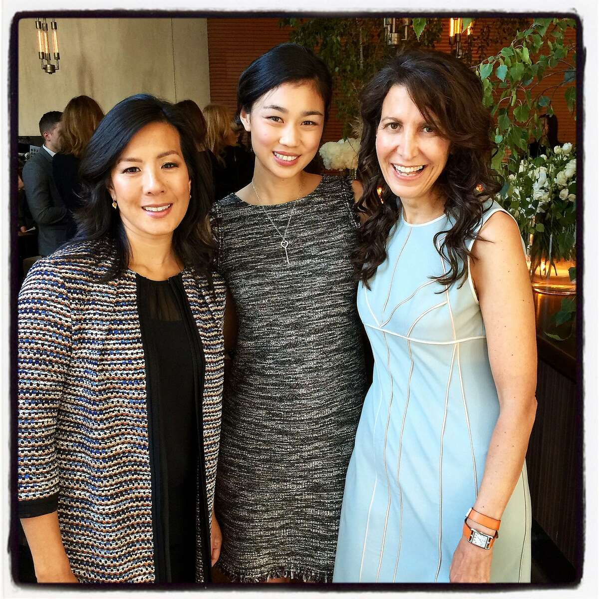 Honorees CowboyVentures founder Aileen Lee and Pinterest Engineering Lead Tracy Chou (at left) with Sherpa Foundry CEO Tina Sharkey at the Elle Women in Tech dinner at Prospect Restaurant. June 2015. By Catherine Bigelow.