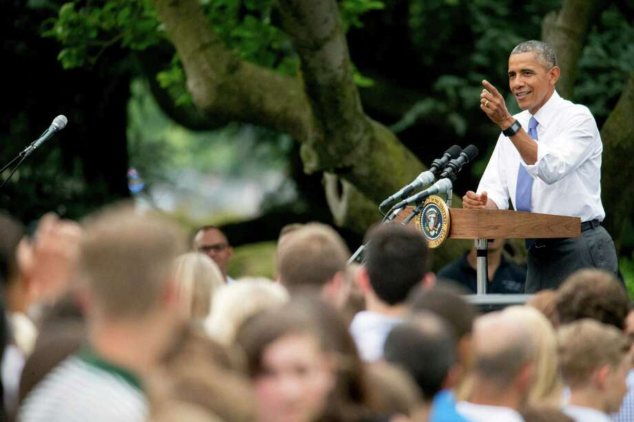 President Barack Obama speaks at a picnic for members of Congress on the South Lawn of the White House in Washington, Wednesday, June 17, 2015. (AP Photo/Andrew Harnik) Photo: Andrew Harnik, STF / AP