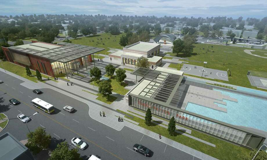 An architectural rendering of renovation plans for Emancipation Park include a new rec center, left, a renovated community center, middle, and an upgraded pool and pool house, right. (Freelon Group Architects) Photo: Freelon Group Architects