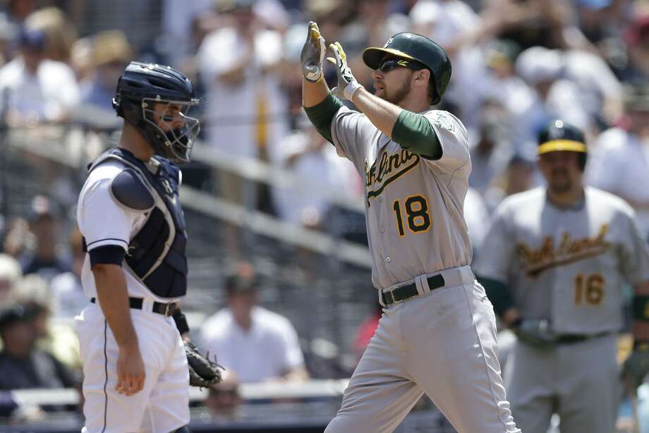 A's utility player Ben Zobrist (18) is greeted at home plate after hitting a two-run home run against the Padres during Tuesday. Zobrist, who had offseason surgery and missed the start of the season, was rested on Thursday despite a nine-game hit streak. Photo: Gregory Bull, Associated Press