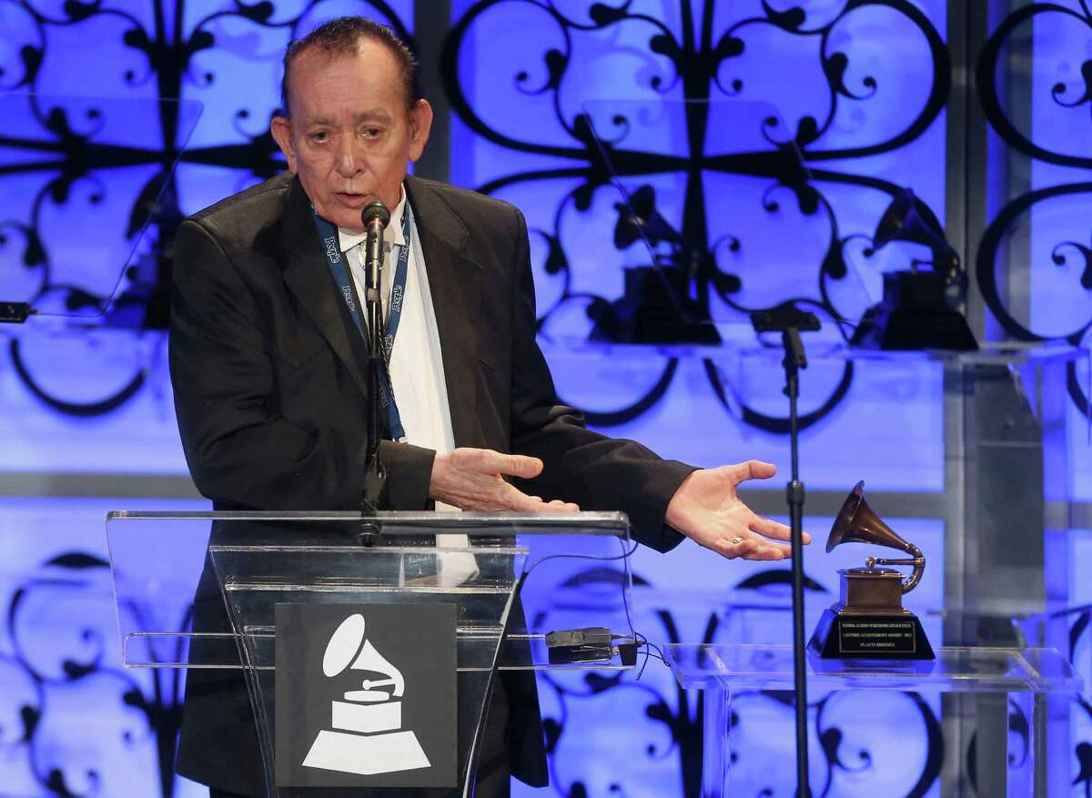 LOS ANGELES, CA - FEBRUARY 07: Honoree Flaco Jimenez speaks onstage during The 57th Annual GRAMMY Awards - Special Merit Awards Ceremony on February 7, 2015 in Los Angeles, California. (Photo by Frederick M. Brown/WireImage)